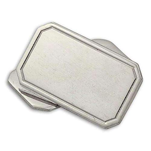 Boutons de Manchette Rectangulaires avec Bordure en Argent 925/1000 - A Chaînette