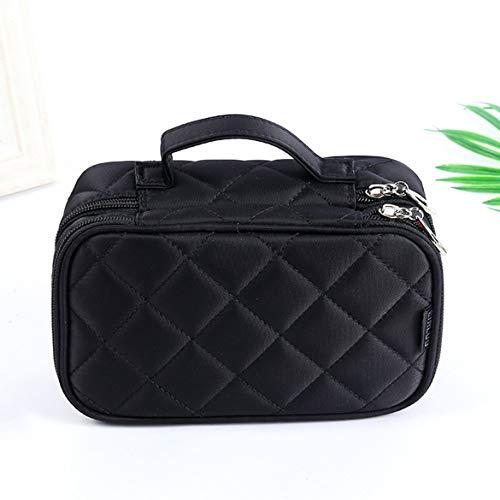 Version coréenne pour dames de sac à cosmétiques en nylon imperméable à l'eau géométrique Rhombic Makeup Wash Bag - Noir -L