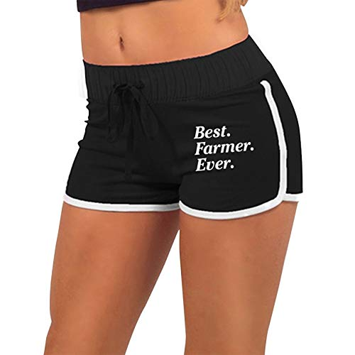 Womens Sexy Booty Shorts Best Farmer Ever Low Waist Gym Workout Raves Hot Pants Black