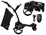 MGI Zip Navigator Electric Golf Caddy Bundle | Includes PlayBetter Premium Caddy Towel | Motorized Electric Golf Cart Caddy | Full Directional Remote Control, Gyroscope Straight Tracker | Black
