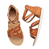 FIBURE Girls Gladiator Sandals with Back Zipper Comfortable Ankle Straps Summer Sandals for Big kid 1 Brown
