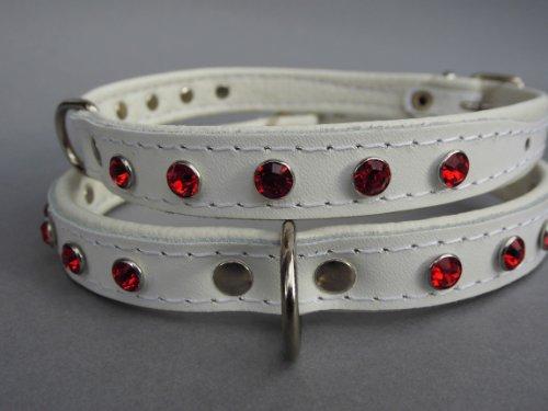 Lusy011 Exklusiv Hunde Halsband, Leder + Swarovski Kristalle in ROT, Halsumfang 29-36cm, Weiß