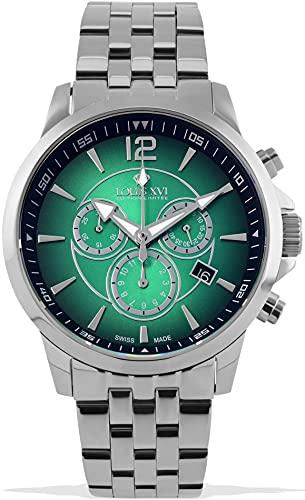 LOUIS XVI Athos 1051 - Reloj de pulsera para hombre, correa de acero, color plateado y verde, cronógrafo, analógico, cuarzo, acero inoxidable