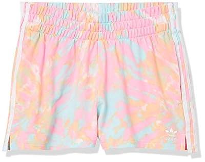 adidas Originals Women's 3-Stripes Short, Top: Multi/White/True Pink/Vapour Blue Bottom: Glow Orange, 4X