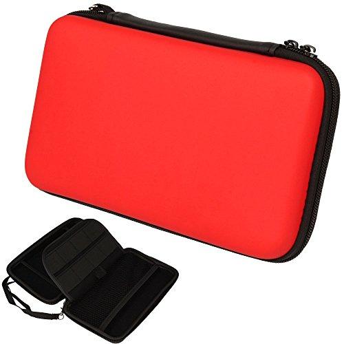 TECHGEAR 2DS XL Case Tasche für New Nintendo 2DS XL, mit Aufbewahrung, Gehäusedeckel, Hartschale, Hartschützender Reise- & Aufbewahrungskoffer für 2DS XL Konsole & Zubehör - Rot