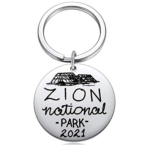 Great Zion National Park Souvenir Gifts 2021 Key Ring Adventure Nature Outdoors Hiking Camping Skiing Travel Keychain 1.4'