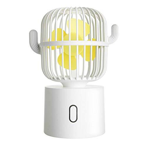 AAADRESSES Mini Ventilador Cute Cactus USB Recargable Ventilador Oscilante, Ventilador Refrigeración Portátil, Enfriador Aire Escritorio el Hogar, para Oficina o Viajes,Blanco