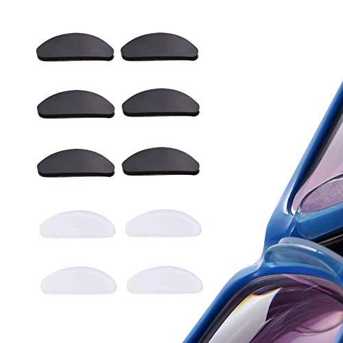 JZZJ 10 Pares Almohadillas de Nariz Adhesivas Almohadillas de Gafas de Silicona Antideslizantes para Gafas y Gafas de Sol (Transparente y Negro, 1 mm)