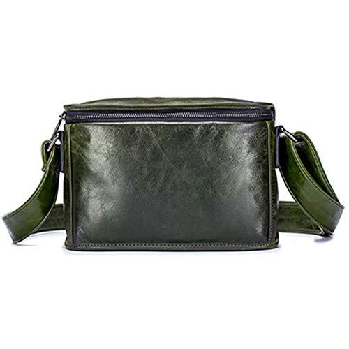 GZMUK Herren Leder Umhängetasche Querschnitt Kleine quadratische Kopfschicht Rindsleder Handytasche iPad Umhängetasche Kleine Tasche,Grün