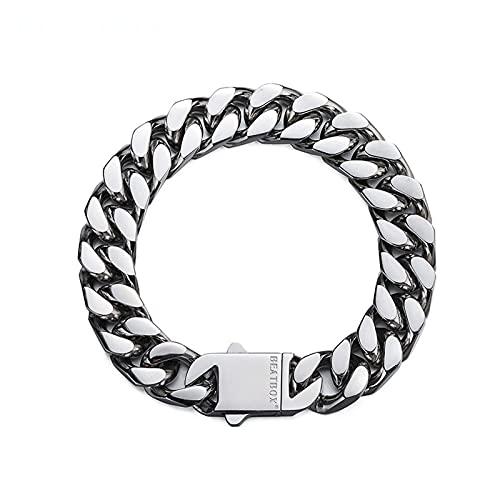 WPJ 7.5/7.9/8.3inch Men's 316L Titanium Steel Pulsera Chunky Curb Cuban Link Chain Pulsera Regalos para los Hombres, 12mm