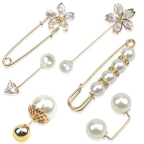 Pinsheng Spille da Donna con Perle ,Spilla di Sicurezza per Le Donnein Cristallo ,per Stringere La Vita Spille Maglione per Le Donne(6 Pezzi)