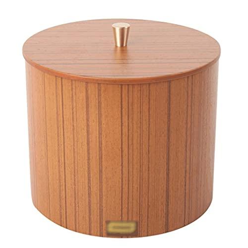 OPYTR Papelera Mini Mesa de Papel de Mesa Redonda con Tapa, contenedor de Basura papelería de Madera for vanidad/Escritorio/Mesa/Mesa de café-3 Colores Galón (Color : Teak)