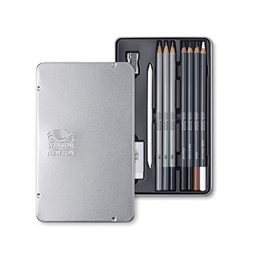 Winsor & Newton 490010 Skizzierstifte Set - 10 teilig - 3 Bleistifte - 2B, 6B, 8B, 4 Zeichenstifte, charcoal, Pierre noire, Sepia , white charocoal, Papierwischer, Radiergummi, Spitzer
