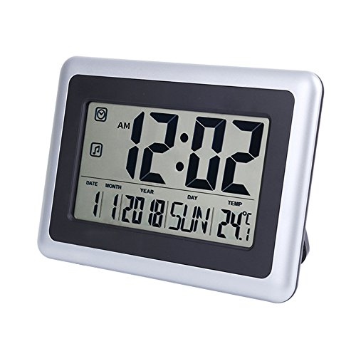 UMEXUS Large Display Digital Wall Clock Desk Alarm Clock with Calendar & Temperature Battery Operated Decoration Clock for Kitchen Bedroom Office School (Silver)