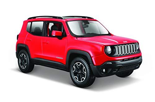 Maisto Jeep Renegade: getrouw modelauto 1:24, deuren en motorkap te openen, klaar model, 20 cm, rood (531282)