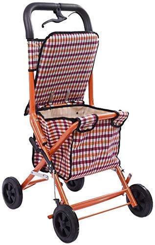 Caminantes para personas mayores Trolley Shopping Trolley, Convenient Trolley plegable - Carrito de compras de cuatro ruedas para ancianos: un andador con asientos con ruedas Rollator Walker, ayuda de