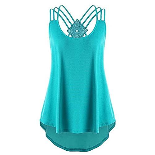 Camisola Mujer Elegante Moda Verano Cuello Redondo Color Sólido Mujer Tops Dobladillo Irregular Diseño Espalda Abierta Todos Los Días Casual Cómodo Transpirable Mujer T-Shirt B-Green XXL