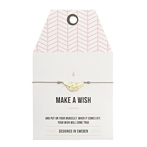 Mint TIMI of Sweden Wunschkarte New Feather Armband Silk grau Gold Feder Freundschaftsarmband Make a Wish