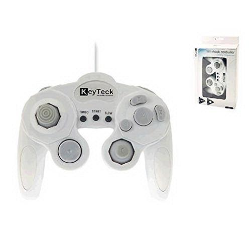 Keyteck WII-09 Gamepad Wii Blanco mando y volante - Volante/mando (Gamepad, Wii, Atrás, D-pad, Hogar, Seleccionar, Inicio, Vibración encendida/apagada, Alámbrico, Blanco, 1,8 m)