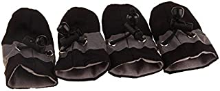 YBAA 4Pcs/Set Pet Dogs Winter Shoes Rain Snow Waterproof Booties Socks Rubber Anti-Slip Shoes for Small Dog Puppies Footwear Cachorro (Color : Black, Size : Number 6)