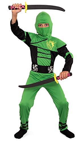 Magicoo Ninja Kostüm Kinder Jungen Gr 92 bis 140 Grün - Fasching Kinder Ninja Kostüm für Kind (122/128)