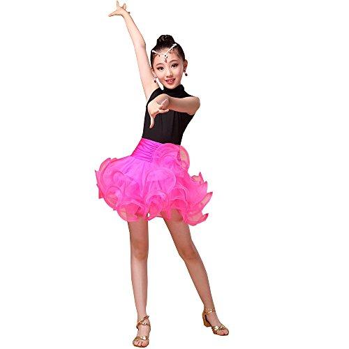 KINDOYO Filles Enfant Été Vêtements de Danse sans Manches Tutu Robe de Danse Latine Pratique Performance Compétition Costume, Rose Rouge/100