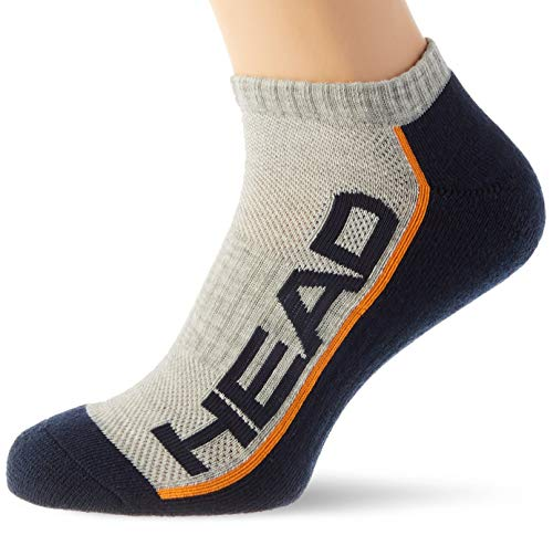 HEAD Unisex-Adult Performance Sneaker – Trainer (2 Pack) Tennis Socks, Grey/Navy, 39/42 (2er Pack)