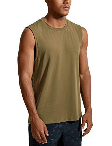 CRZ YOGA Men's Lightweight Pima Cotton Workout Tank Tops Moisture-Wicking Sleeveless Shirts Muscle Tank Coast Stone Brown X-Small