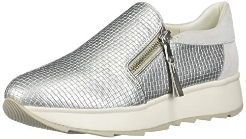 Geox D Gendry A, Zapatillas para Mujer, Plateado (Silver/Off Wht C0628), 39 EU
