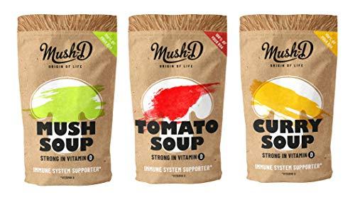 Mush D Instant-Suppe mit natürlichem Vitamin D aus Champignons - 9x 200ml Kombipack (Tomate, Curry, Champignon)