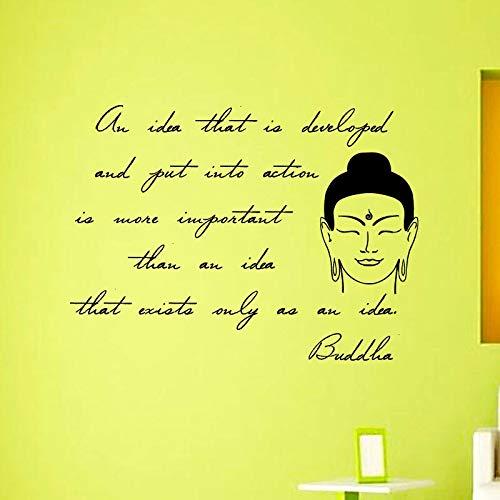 mlpnko Buddha inspirierende Wandaufkleber Phrase Hauptdekoration Aufkleber entfernbare Chakra Mandala Mantra Kunst Wandbild,CJX13635-88x65cm
