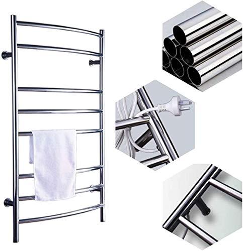Calentador de pared de baño Calentador de toallas, calentador de toallas, Toallero con calentamiento de baño Rack 304 Acero inoxidable Montado en la pared Ahorro de energía Baño Radiador Accesorios de