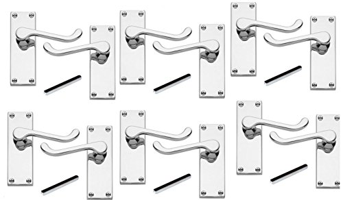 6 x Pairs of Victorian Scroll Polished Chrome Lever Latch...