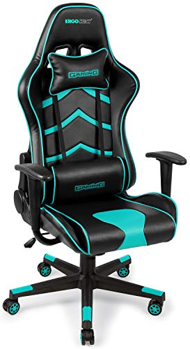 Gaming Chair PU Leather Executive Ergonomic Office Chair Rolling Racing PC Desk Chair Backrest and Seat Height Adjustment Recliner Swivel Rocker with Headrest and Lumbar Pillow(Black/Light Blue)