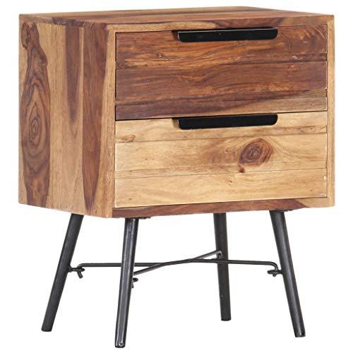vidaXL Sheesham-Holz Massiv Nachttisch mit 2 Schubladen Nachtschrank Nachtkommode Nachtschränkchen Schlafzimmer Kommode Schrank 40x30x50cm