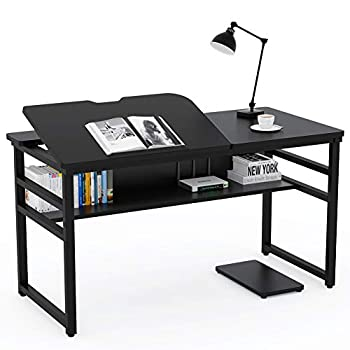Tribesigns Modern Drafting Desk Drawing Table with Storage Shelf 55 inch Large Computer Desk Writing Desk Craft Workstation with Tiltable Tabletop for Artist Home Office  Black