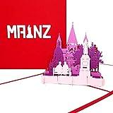 """Pop Up Karte """"Mainz - Panorama mit Mainzer Dom"""" - 3D Grußkarte als Souvenir, Gutenberg Geschenk, Geburtstagskarte, Einladungskarte & Gutschein zum Städtetrip"""