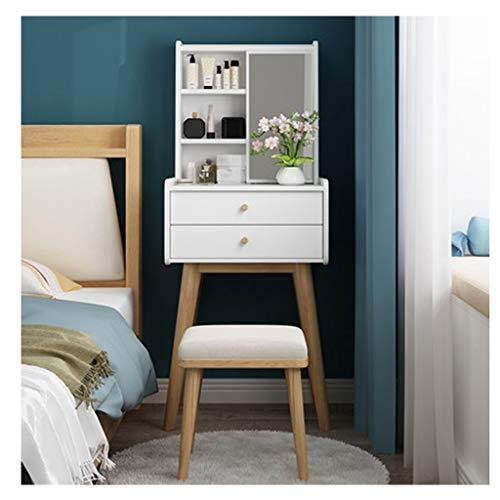Moderna silla de tocador, taburete acolchado con patas de madera de goma en la sala de estar, dormitorio, recepción, dormitorio, tocador (color: blanco)