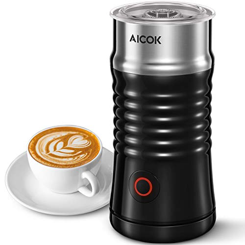 Milk Frother, Aicok Electric Milk Steamer with Hot ...