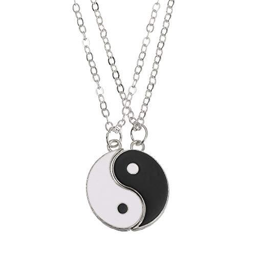 Accesorios de moda Regalo de San Valentín para los amantes Yin Yang Charm Colgante Pareja Collares Joyería (Plata)