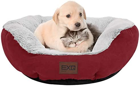 EXQ Home Soft Red Warmful Cat Beds for Indoor Cats Fluffy Calming Cat Bed with Slip Resistant product image