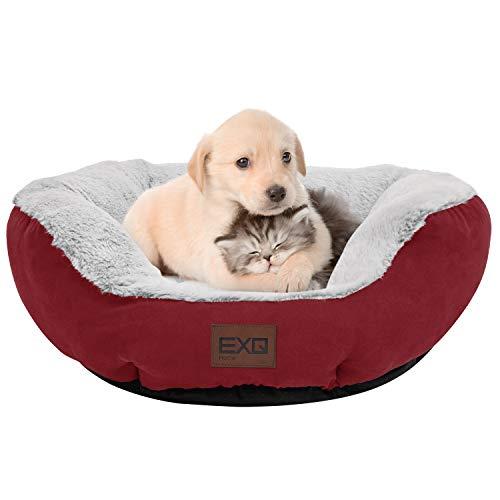 EXQ Home 居心地の良い猫ベッド ペットソファー ペットベッド ペットクッション ペットマット ふわふわ もこもこ 50.8x50.8x19.05cm 100%ポリエステル 洗える 丸型 滑り止め ぐっすり眠る オールシーズンタイプ おしゃれ かわいい 猫用 小型犬用 肌触りよく 暖かい耐久性のある猫の巣 柔らかくて快適なペット寝具 赤