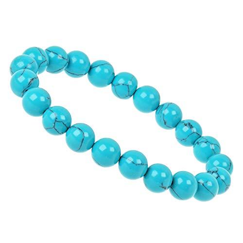 ELEDORO PowerBead - Pulsera elástica de perlas de piedras preciosas, 10 mm, howlita azul