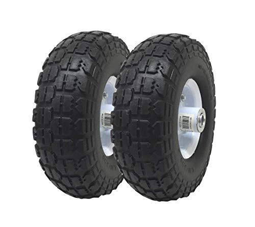 UI PRO TOOLS 2-Pack 4.10/3.50-4' Flat Free Rubber Tire Hand Truck/All Purpose Utility Tires on Wheels 5/8' Bearing Hole