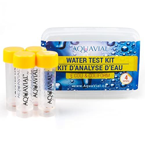 AquaVial Wassertest Schnelltest für Trinkwasser, 4er-Pack auf E.coli bzw. Coliforme Bakterien Nachweis | Hochempfindlicher Wasserqualität-Tester für Brunnen- und Leitungswasser für Profis