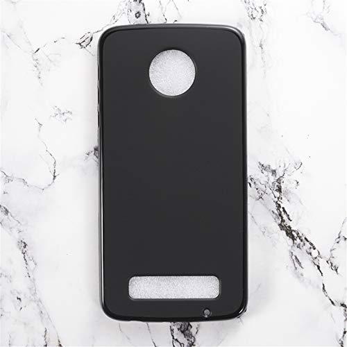 Capa para Motorola Moto Z Play, resistente a arranhões, capa traseira de TPU macia à prova de choque, borracha de gel de silicone, anti-impressões digitais, capa protetora de corpo inteiro para Motorola Moto Z Play (preta)