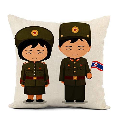 Funda de cojín Los norcoreanos en el hombre de la bandera del uniforme militar nacional Funda de Almohada con Cremallera para Decoración del Hogar Sofá Coche Oficina 45 x 45 cm