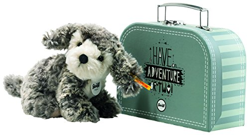 Steiff 79160 Matty Hund im Koffer, Grau/beige