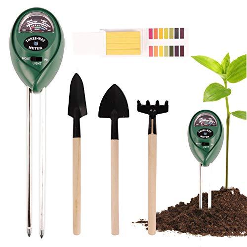 Ulikey Medidor de Suelo con Herramientas bonsái, Kit de Prueba de Suelo 3 en 1 con Prueba de Humedad/Luz/PH para Planta, Jardín, Granjas (Plant-F)