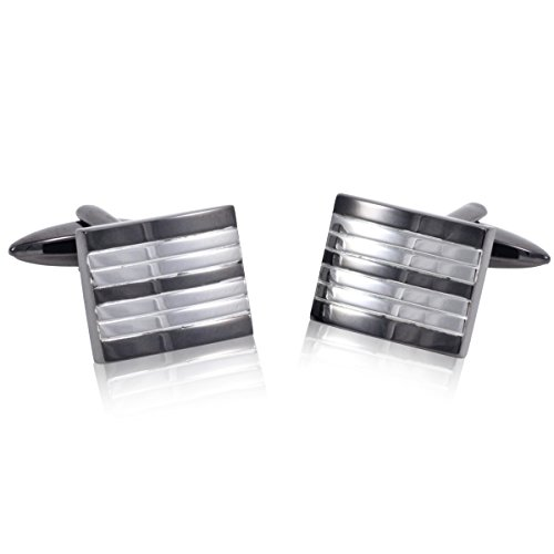 Lindenmann Classic G.CHABROLLE Cufflinks/Cuff Buttons, Silvery, Gunmetal, with Gift Box, 348